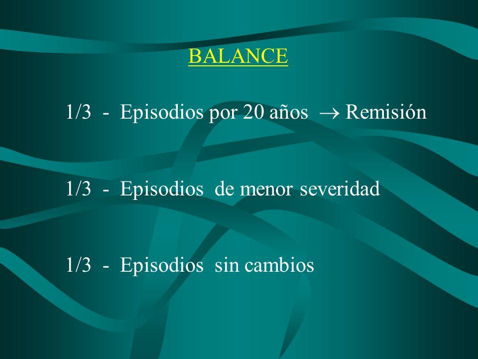 BALANCE1/3 - Episodios por 20 años  Remisión.1/3 - Episodios de menor severidad.