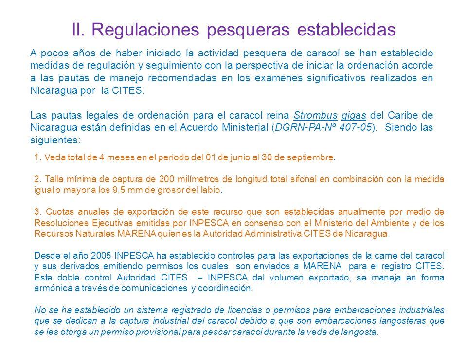 II. Regulaciones pesqueras establecidas