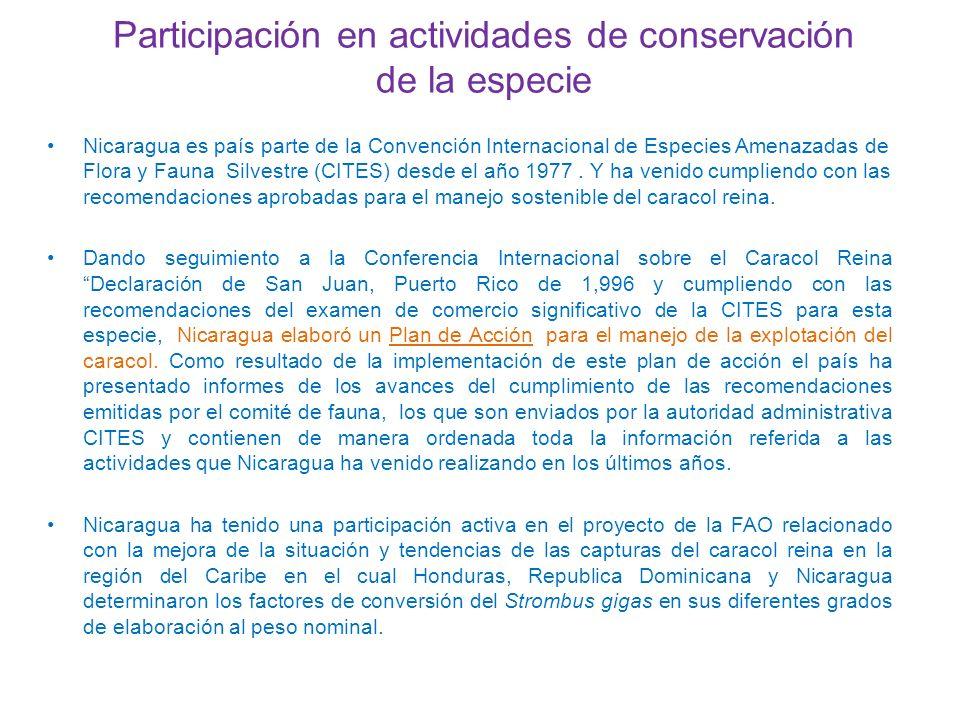Participación en actividades de conservación de la especie