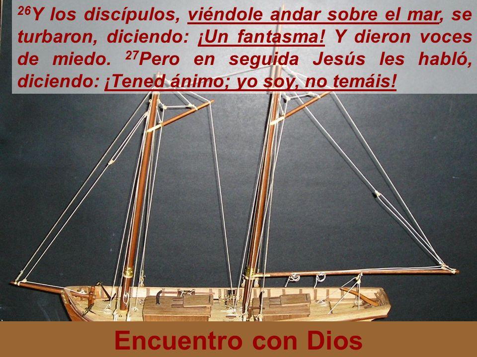26Y los discípulos, viéndole andar sobre el mar, se turbaron, diciendo: ¡Un fantasma! Y dieron voces de miedo. 27Pero en seguida Jesús les habló, diciendo: ¡Tened ánimo; yo soy, no temáis!