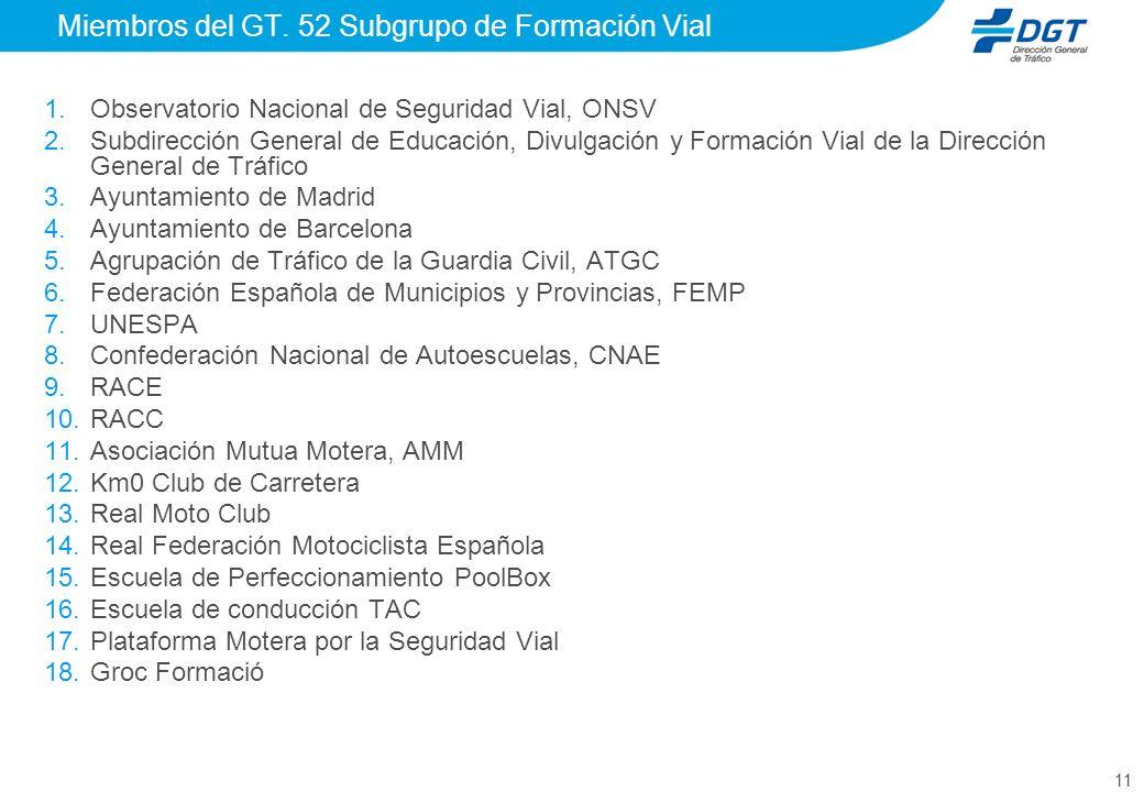 Miembros del GT. 52 Subgrupo de Formación Vial