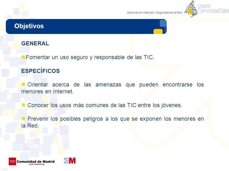 Objetivos GENERAL Fomentar un uso seguro y responsable de las TIC.