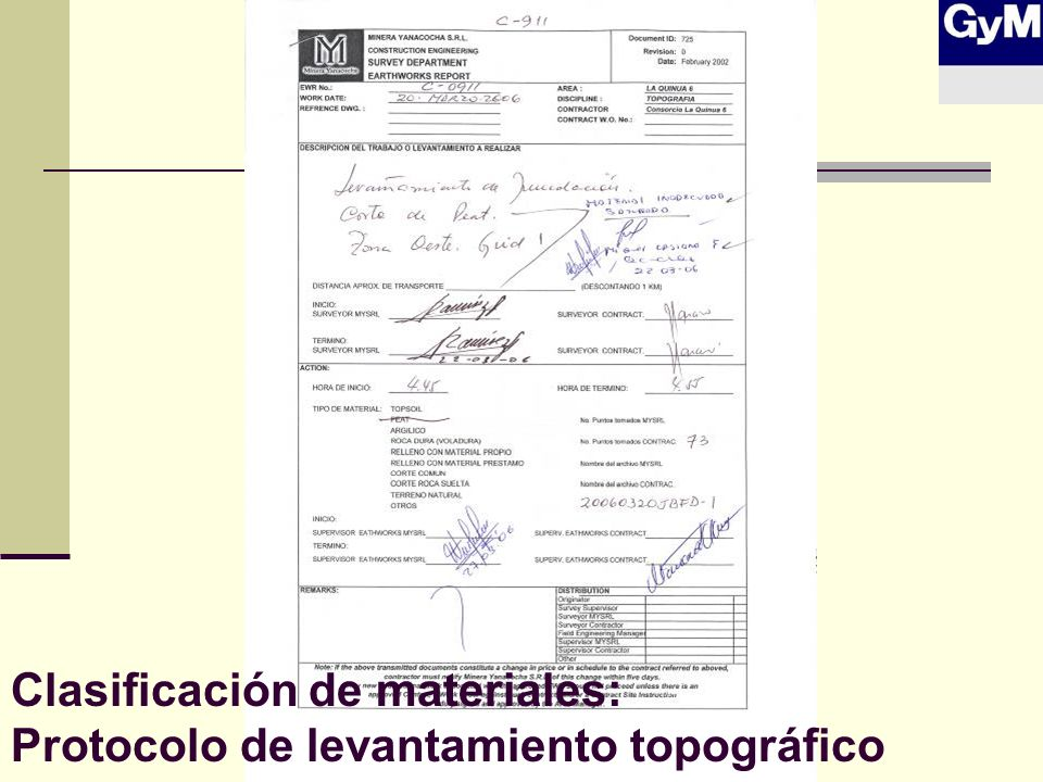 Clasificación de materiales: Protocolo de levantamiento topográfico