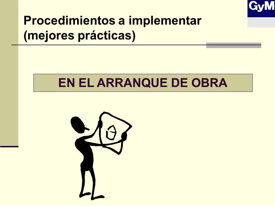 Procedimientos a implementar (mejores prácticas)