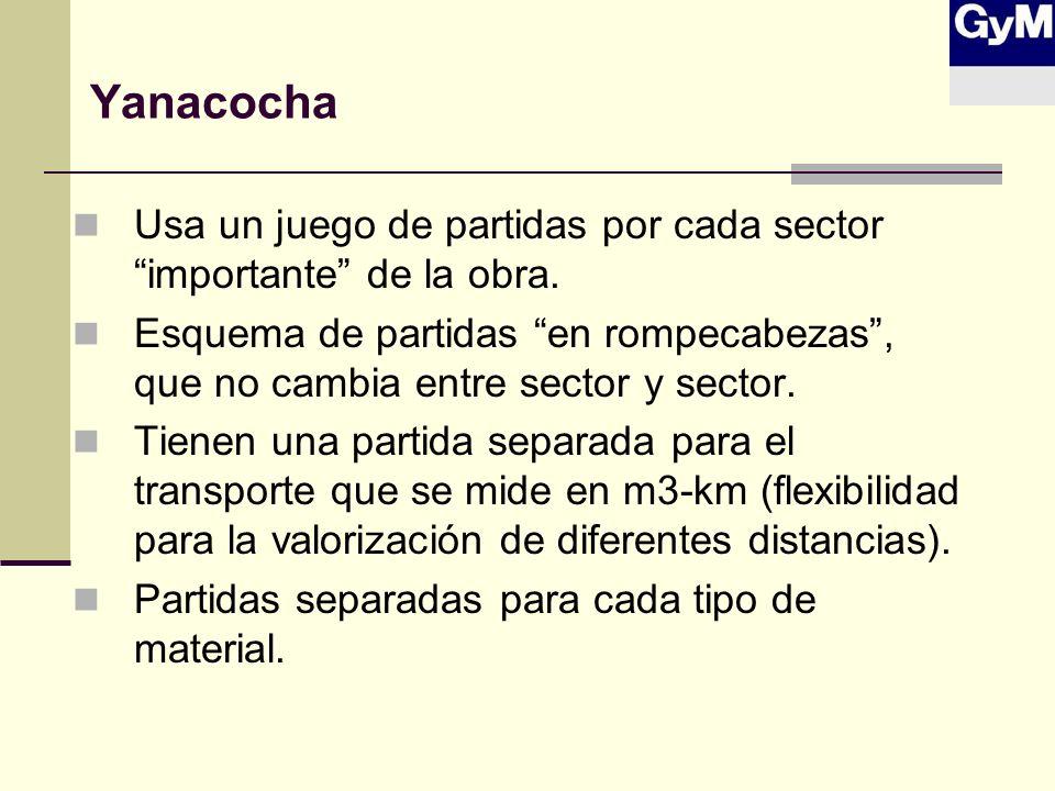Yanacocha Usa un juego de partidas por cada sector importante de la obra.
