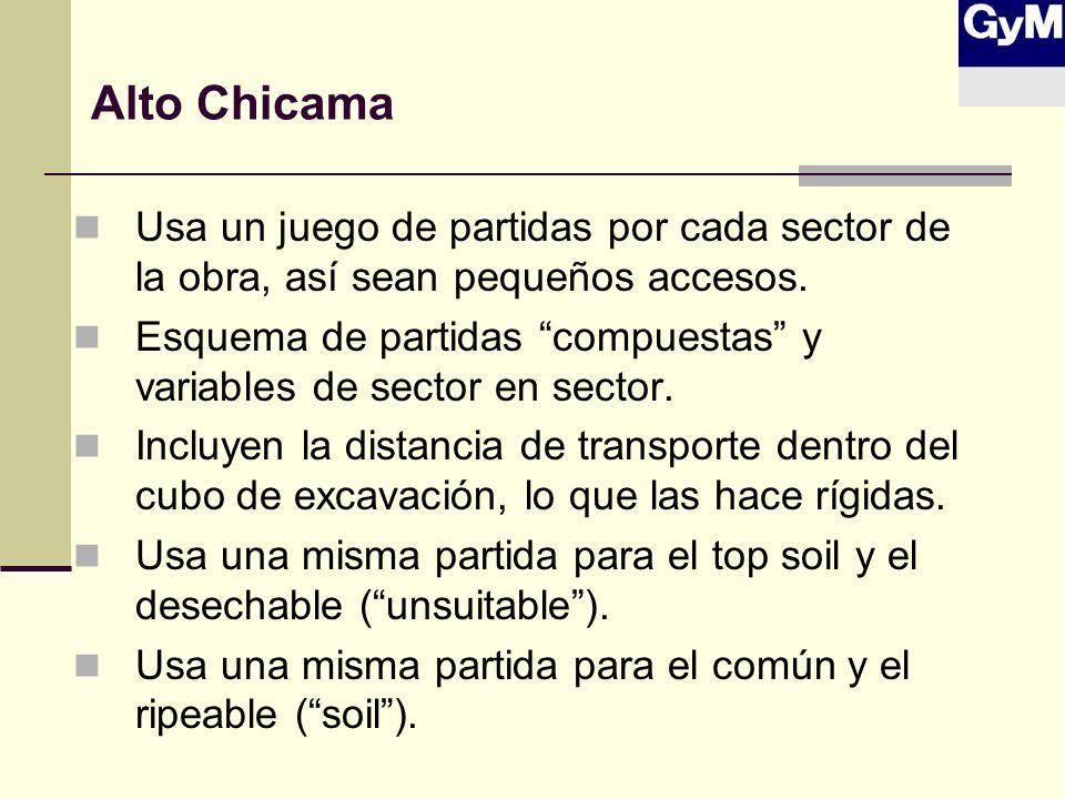 Alto Chicama Usa un juego de partidas por cada sector de la obra, así sean pequeños accesos.