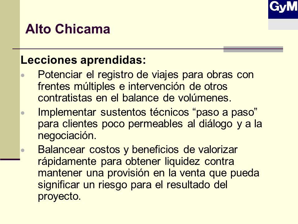 Alto Chicama Lecciones aprendidas: