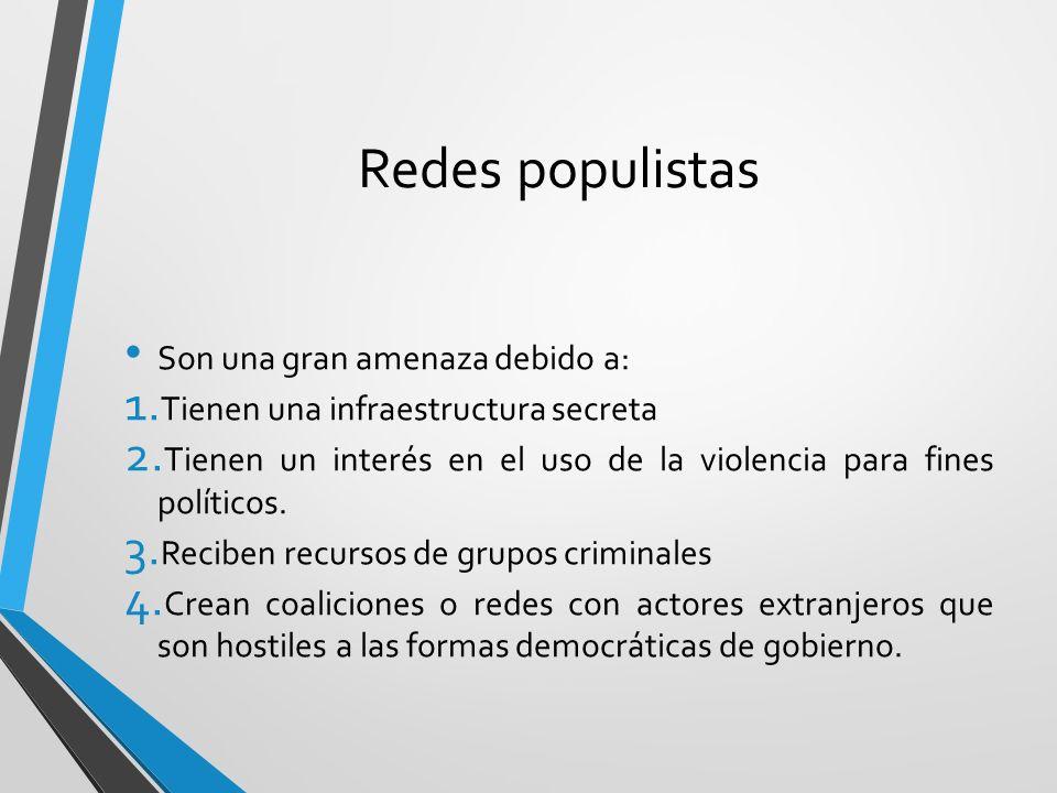 Redes populistas Son una gran amenaza debido a: