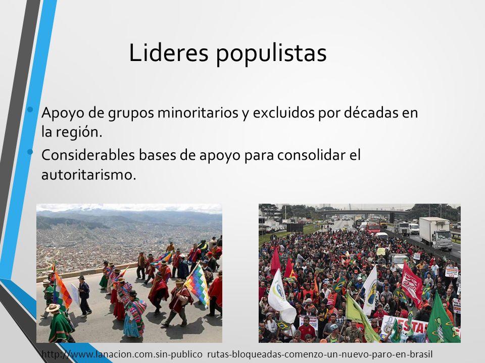 Lideres populistas Apoyo de grupos minoritarios y excluidos por décadas en la región. Considerables bases de apoyo para consolidar el autoritarismo.