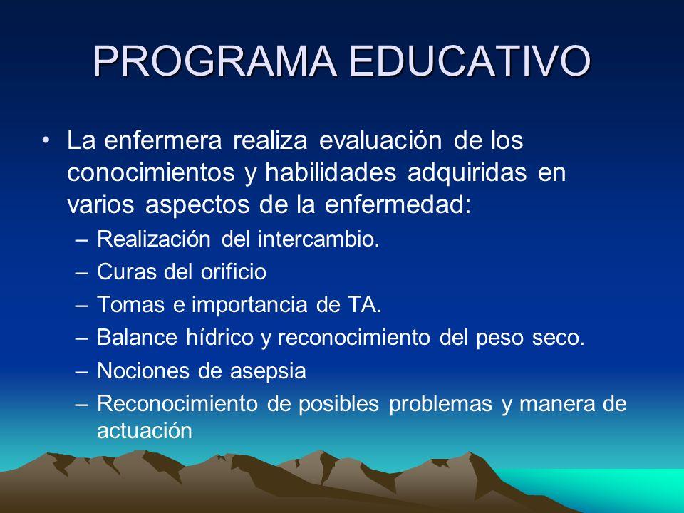 PROGRAMA EDUCATIVO La enfermera realiza evaluación de los conocimientos y habilidades adquiridas en varios aspectos de la enfermedad: