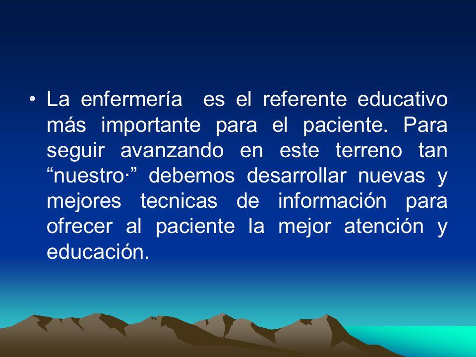 La enfermería es el referente educativo más importante para el paciente.