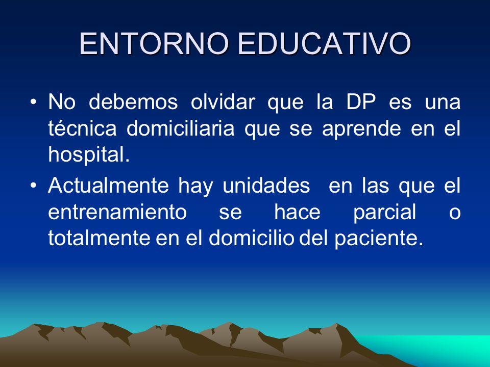 ENTORNO EDUCATIVONo debemos olvidar que la DP es una técnica domiciliaria que se aprende en el hospital.