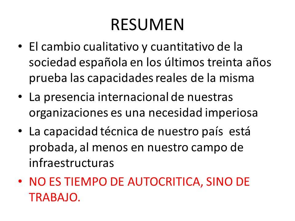 RESUMEN El cambio cualitativo y cuantitativo de la sociedad española en los últimos treinta años prueba las capacidades reales de la misma.