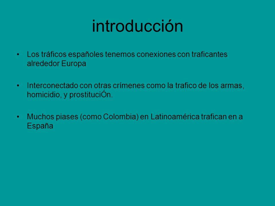 introducción Los tráficos españoles tenemos conexiones con traficantes alrededor Europa.