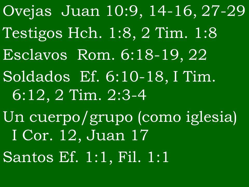 Ovejas Juan 10:9, 14-16, 27-29Testigos Hch. 1:8, 2 Tim. 1:8. Esclavos Rom. 6:18-19, 22. Soldados Ef. 6:10-18, I Tim. 6:12, 2 Tim. 2:3-4.