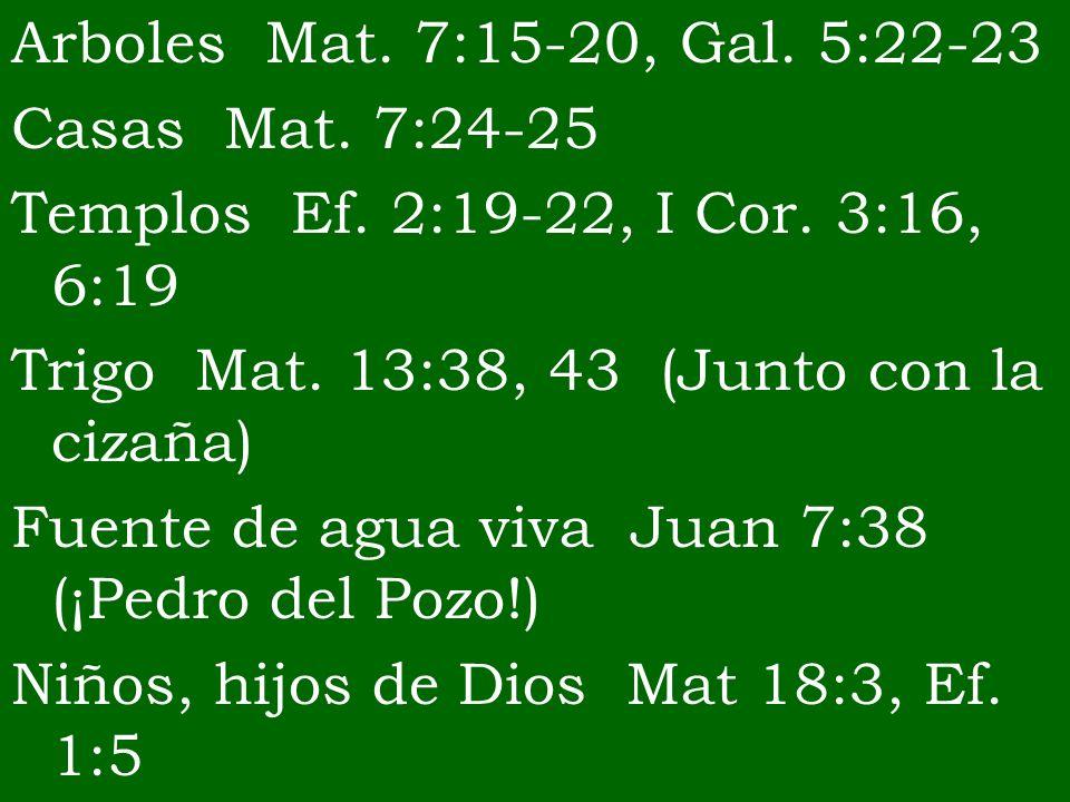 Arboles Mat. 7:15-20, Gal. 5:22-23Casas Mat. 7:24-25. Templos Ef. 2:19-22, I Cor. 3:16, 6:19. Trigo Mat. 13:38, 43 (Junto con la cizaña)
