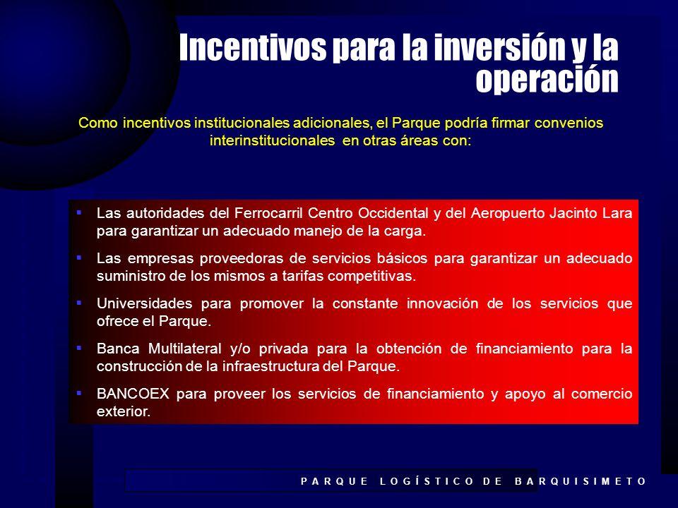 Incentivos para la inversión y la operación