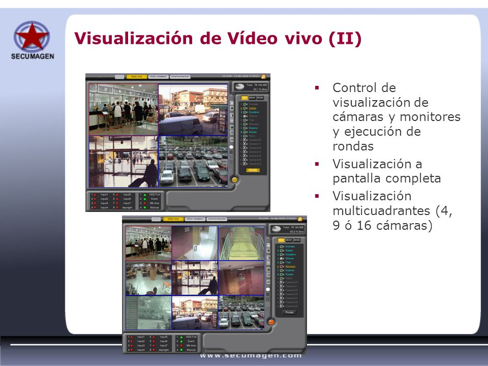 Visualización de Vídeo vivo (II)