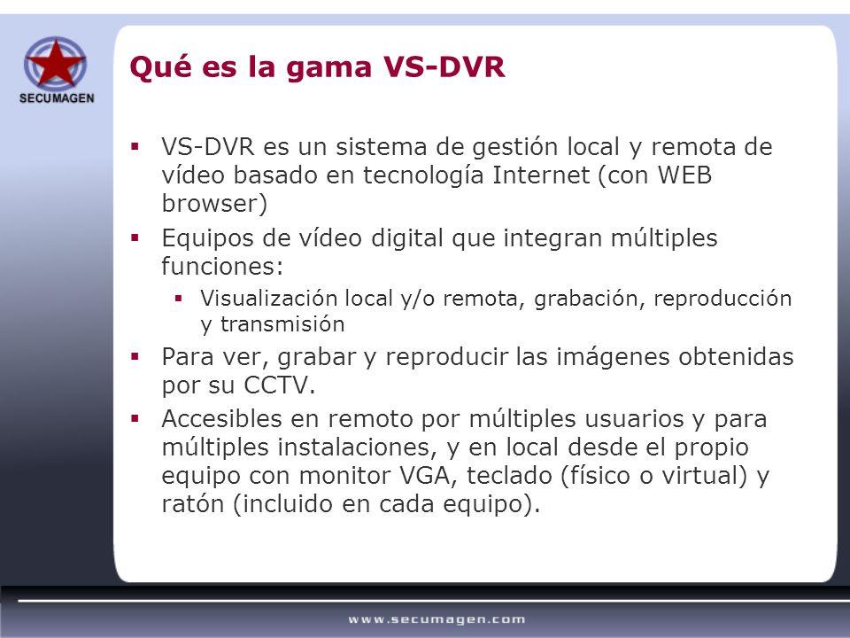 Qué es la gama VS-DVR VS-DVR es un sistema de gestión local y remota de vídeo basado en tecnología Internet (con WEB browser)