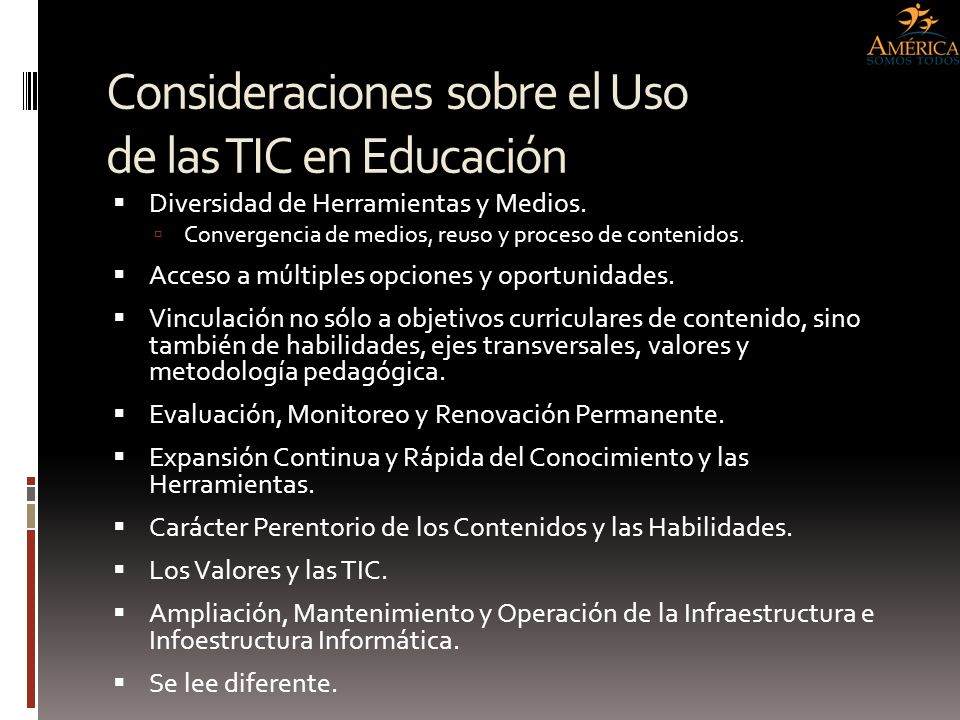 Consideraciones sobre el Uso de las TIC en Educación