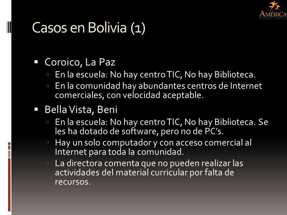 Casos en Bolivia (1) Coroico, La Paz Bella Vista, Beni