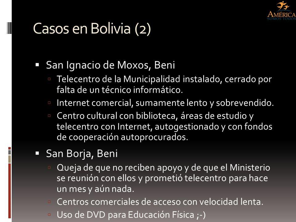 Casos en Bolivia (2) San Ignacio de Moxos, Beni San Borja, Beni