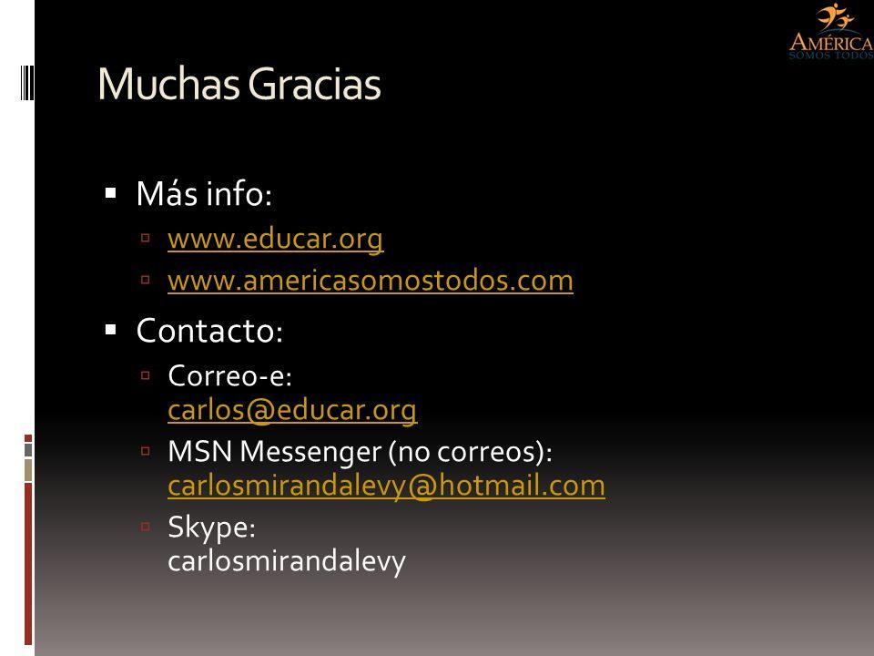 Muchas Gracias Más info: Contacto: www.educar.org