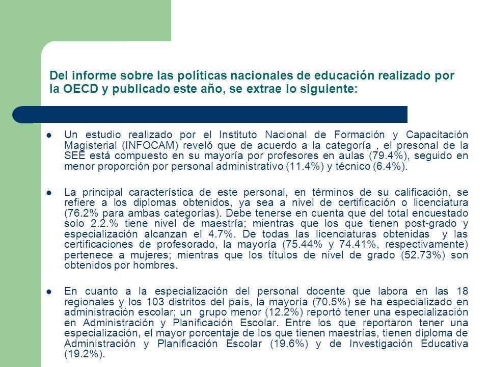 Del informe sobre las políticas nacionales de educación realizado por la OECD y publicado este año, se extrae lo siguiente: