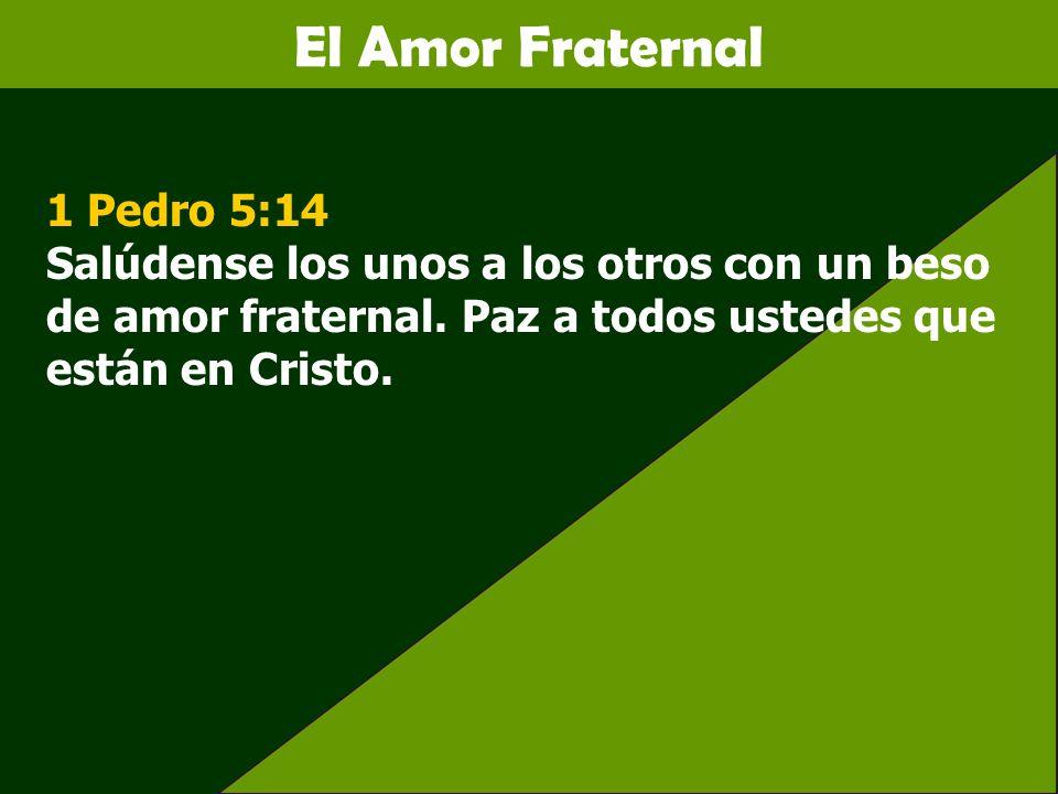 El Amor Fraternal 1 Pedro 5:14 Salúdense los unos a los otros con un beso de amor fraternal.