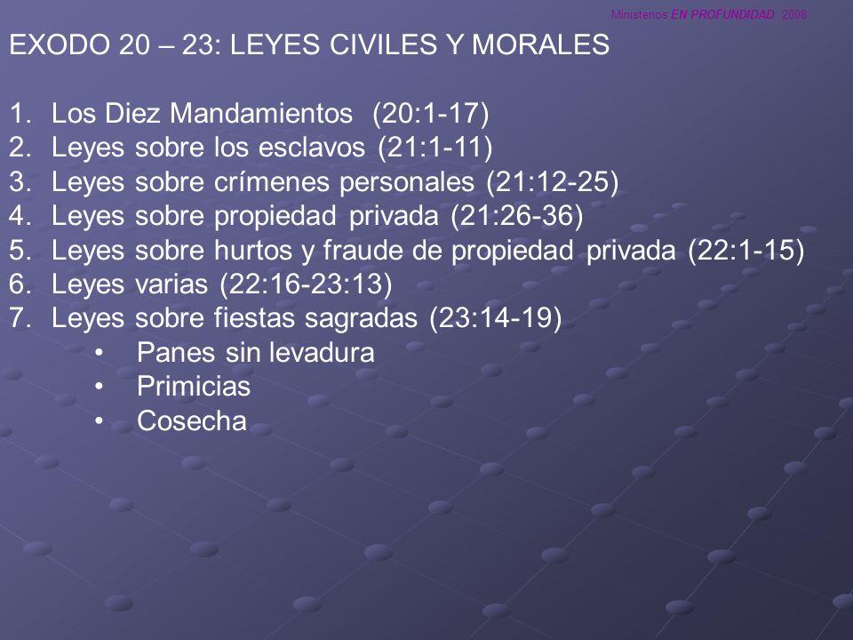 EXODO 20 – 23: LEYES CIVILES Y MORALES
