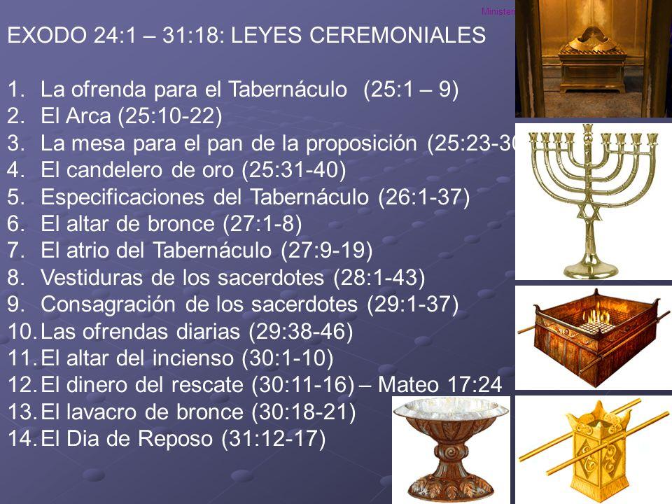 EXODO 24:1 – 31:18: LEYES CEREMONIALES