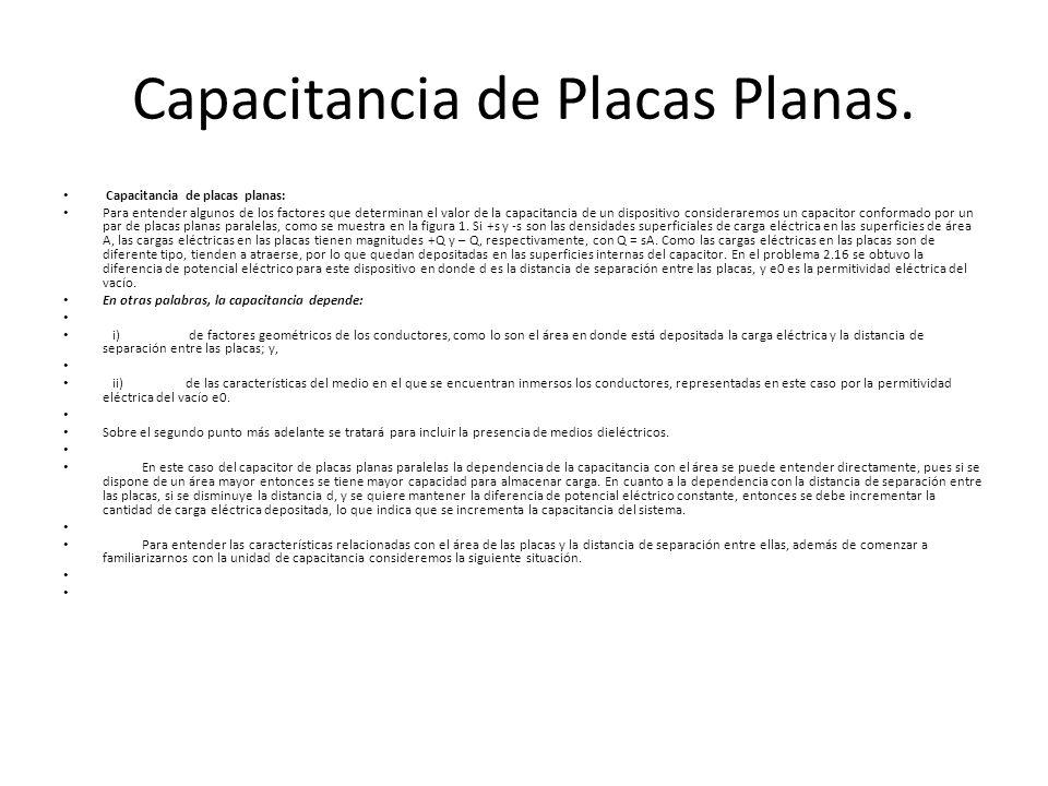 Capacitancia de Placas Planas.