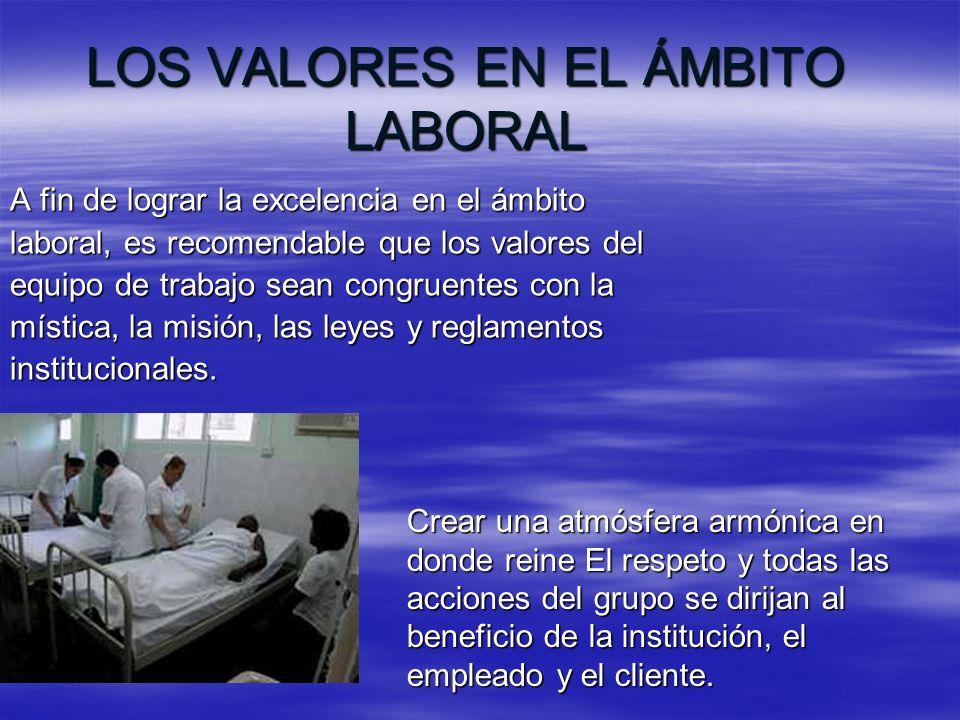LOS VALORES EN EL ÁMBITO LABORAL