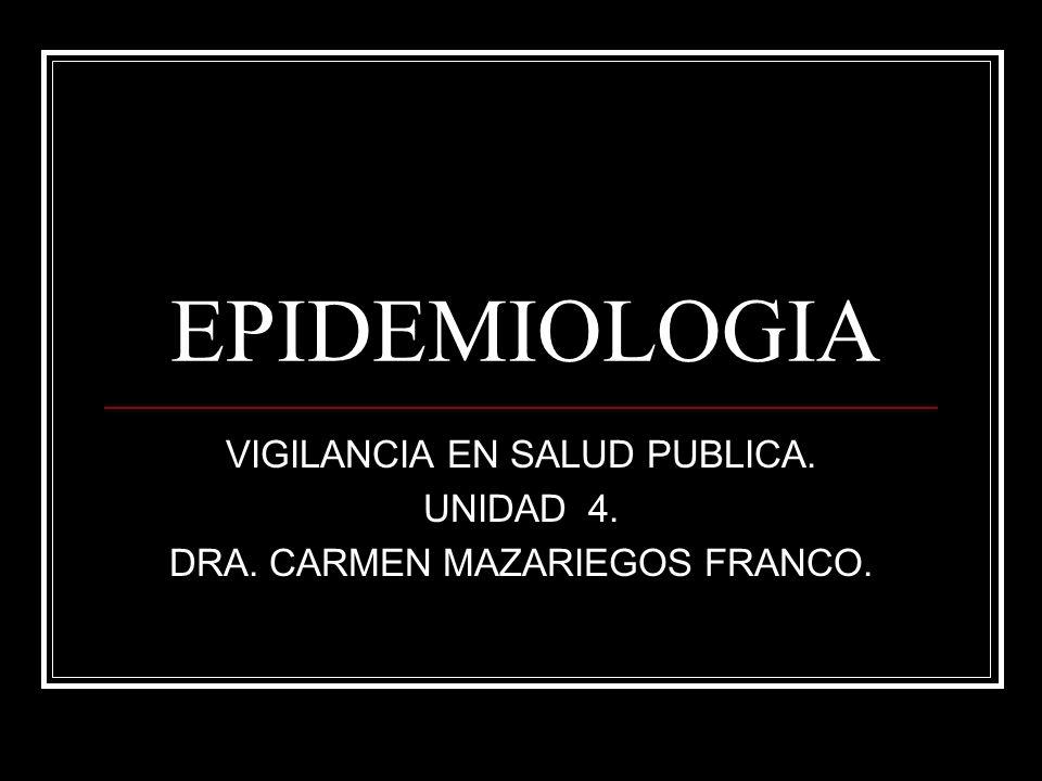 VIGILANCIA EN SALUD PUBLICA. UNIDAD 4. DRA. CARMEN MAZARIEGOS FRANCO.