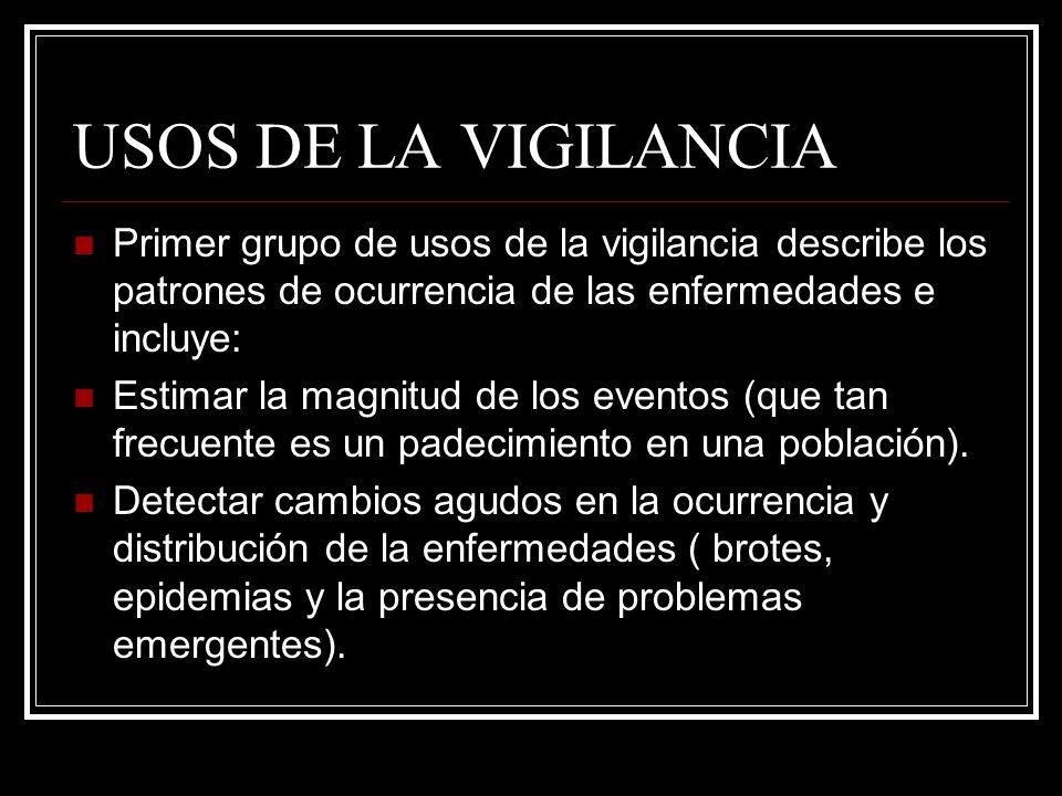 USOS DE LA VIGILANCIAPrimer grupo de usos de la vigilancia describe los patrones de ocurrencia de las enfermedades e incluye: