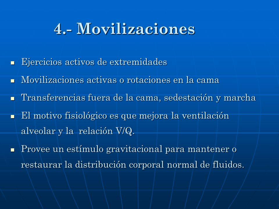 4.- Movilizaciones Ejercicios activos de extremidades