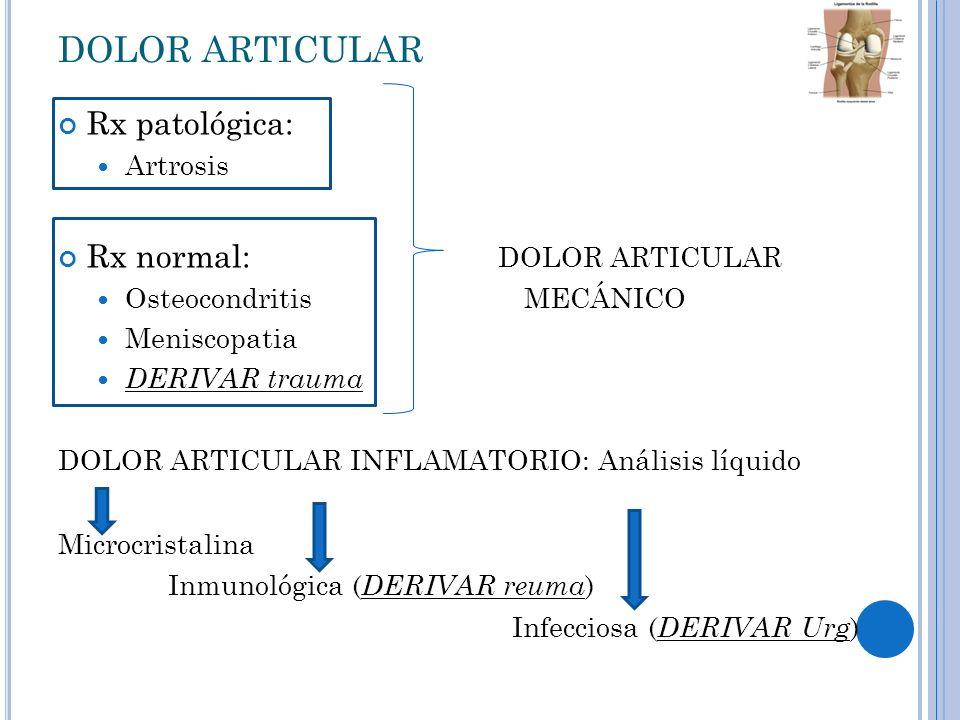 DOLOR ARTICULAR Rx patológica: Rx normal: DOLOR ARTICULAR Artrosis