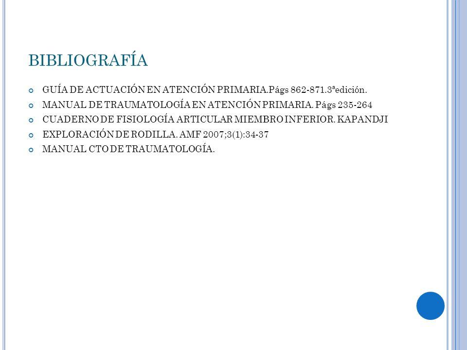 bibliografía GUÍA DE ACTUACIÓN EN ATENCIÓN PRIMARIA.Págs 862-871.3ªedición. MANUAL DE TRAUMATOLOGÍA EN ATENCIÓN PRIMARIA. Págs 235-264.