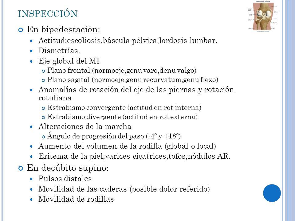 inspección En bipedestación: En decúbito supino: