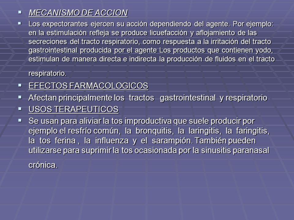 EFECTOS FARMACOLOGICOS