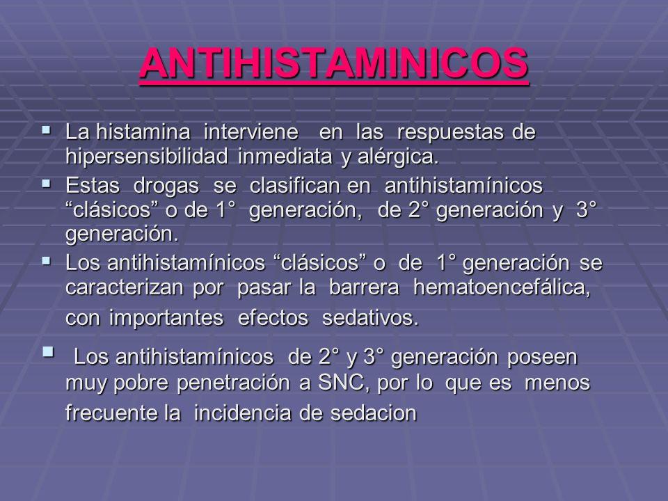 ANTIHISTAMINICOS La histamina interviene en las respuestas de hipersensibilidad inmediata y alérgica.