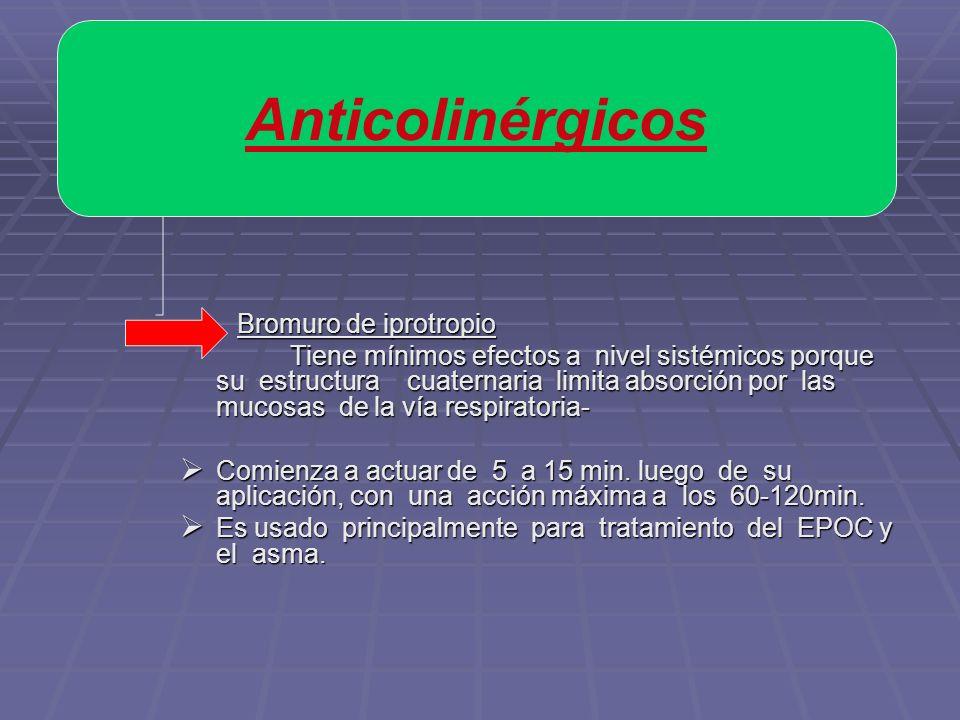 Anticolinérgicos Bromuro de iprotropio.