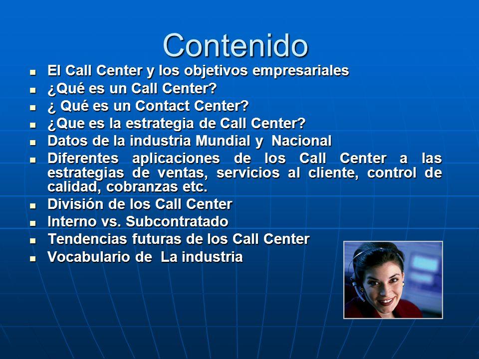 Contenido El Call Center y los objetivos empresariales