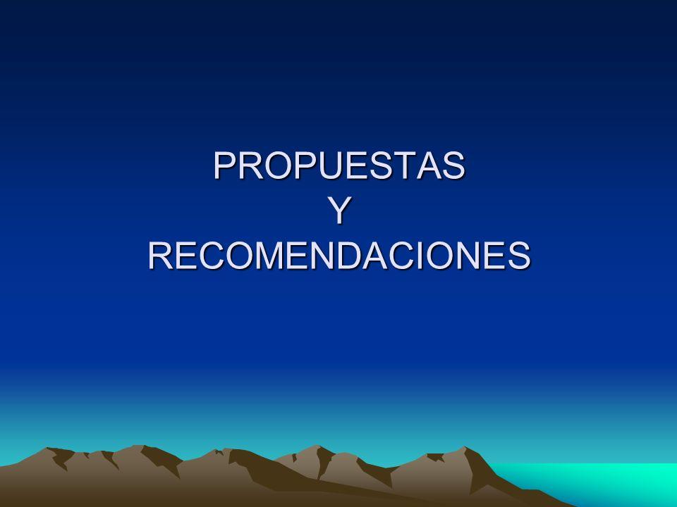 PROPUESTAS Y RECOMENDACIONES