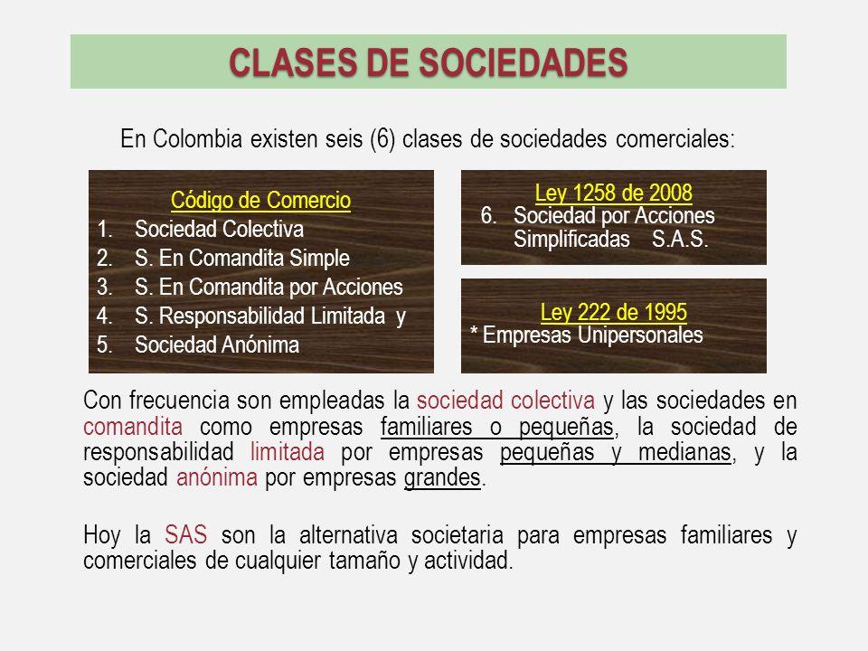 En Colombia existen seis (6) clases de sociedades comerciales: