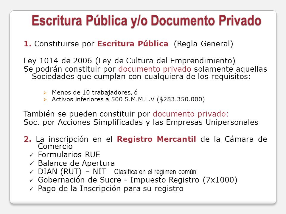 Escritura Pública y/o Documento Privado