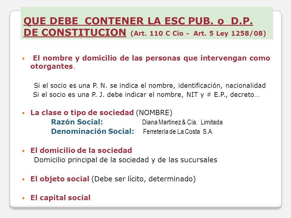 QUE DEBE CONTENER LA ESC PUB. o D. P. DE CONSTITUCION (Art