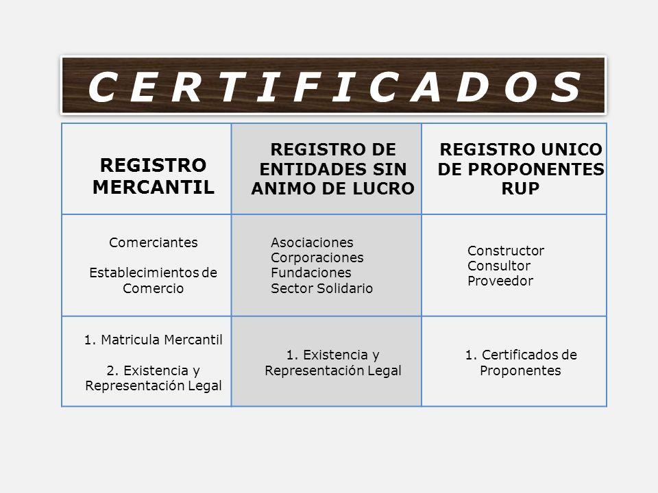 REGISTRO DE ENTIDADES SIN ANIMO DE LUCRO REGISTRO UNICO DE PROPONENTES