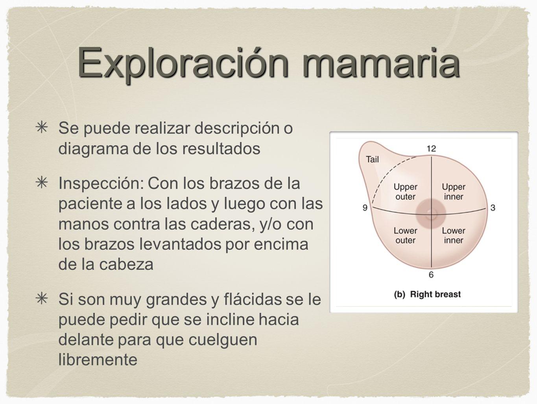 Exploración mamaria Se puede realizar descripción o diagrama de los resultados.