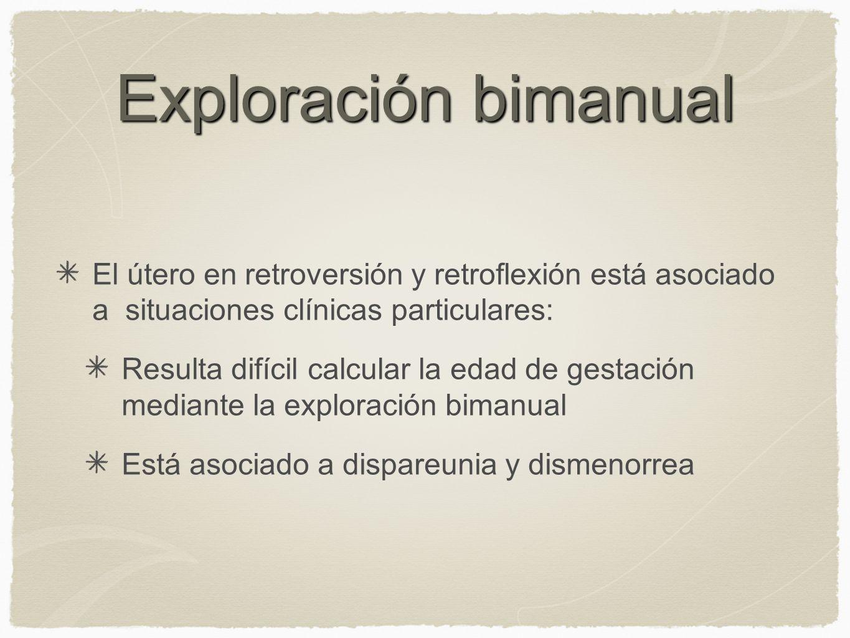 Exploración bimanual El útero en retroversión y retroflexión está asociado a situaciones clínicas particulares: